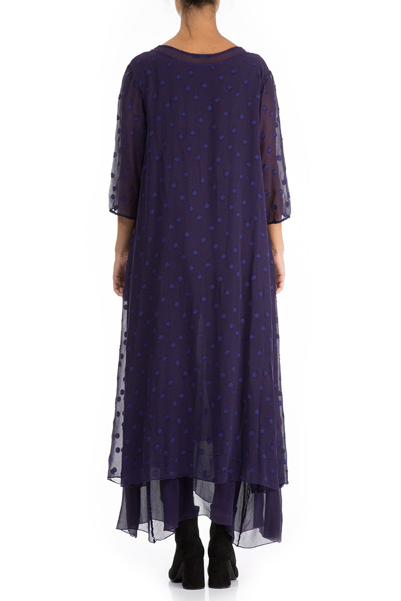 Long Dotty Royal Purple Silk Dress