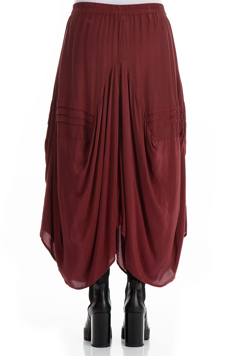 Long Draped Dark Red Silk Bamboo Skirt