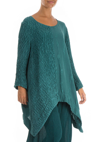 Long Edges Emerald Pure Silk Tunic