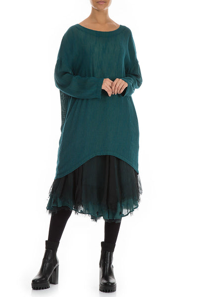 Long Edges Emerald Silk Tunic