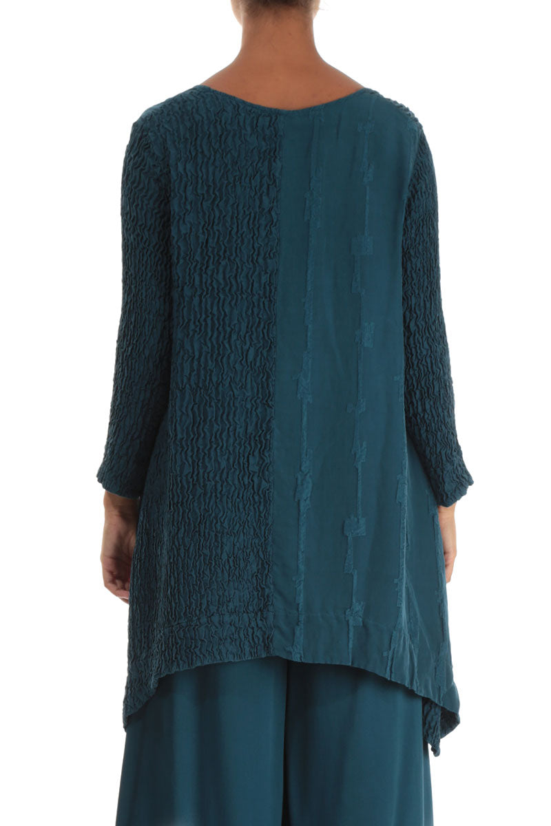 Long Edges Peacock Blue Pure Silk Tunic