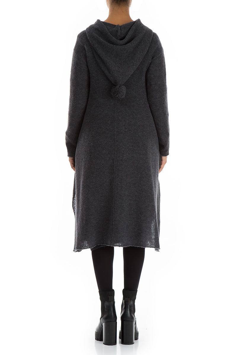 Long Hooded Dark Grey Wool Cardigan