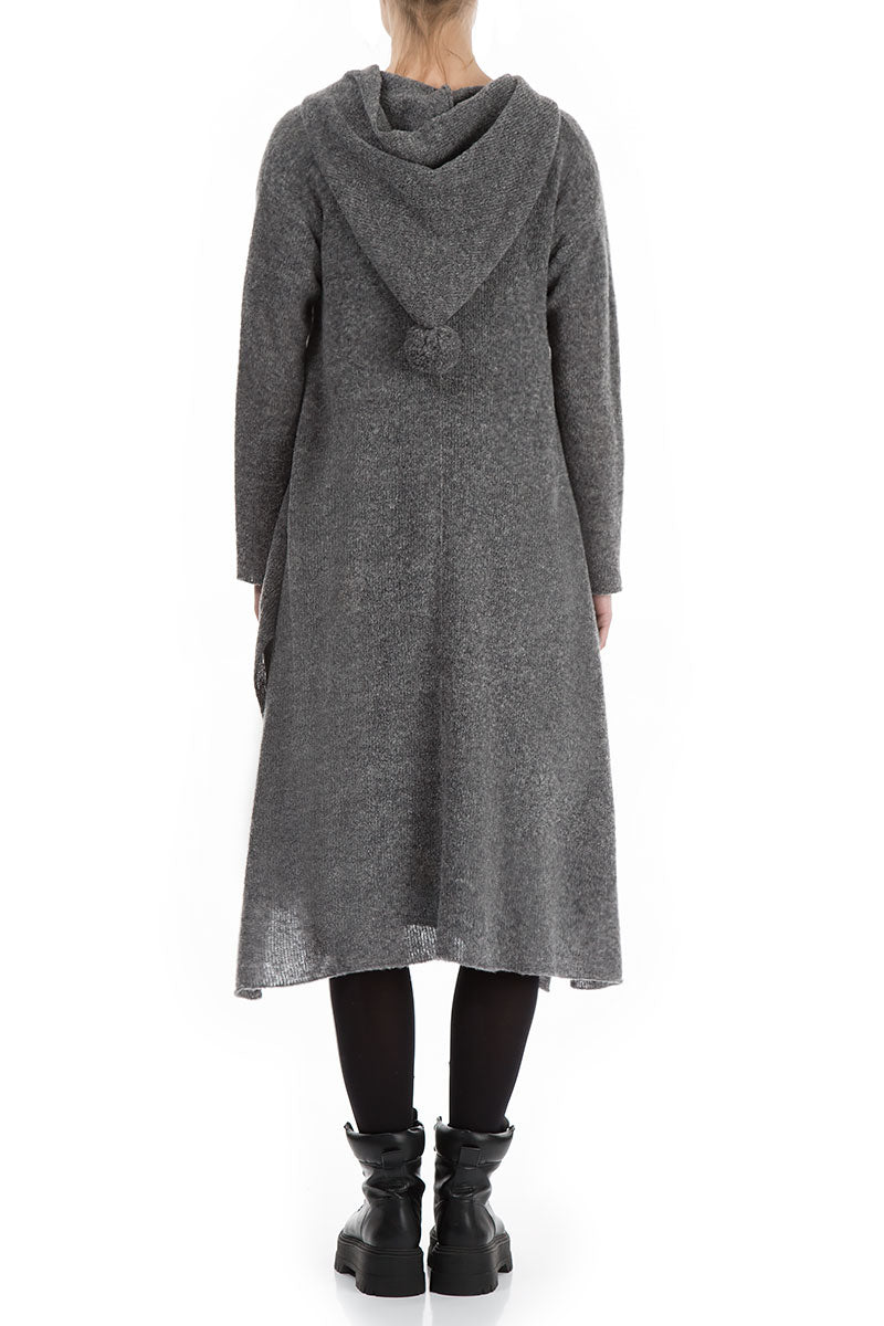 Long Hooded Grey Wool Cardigan