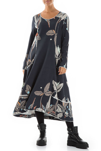 Long Leaves Print Cotton Dress