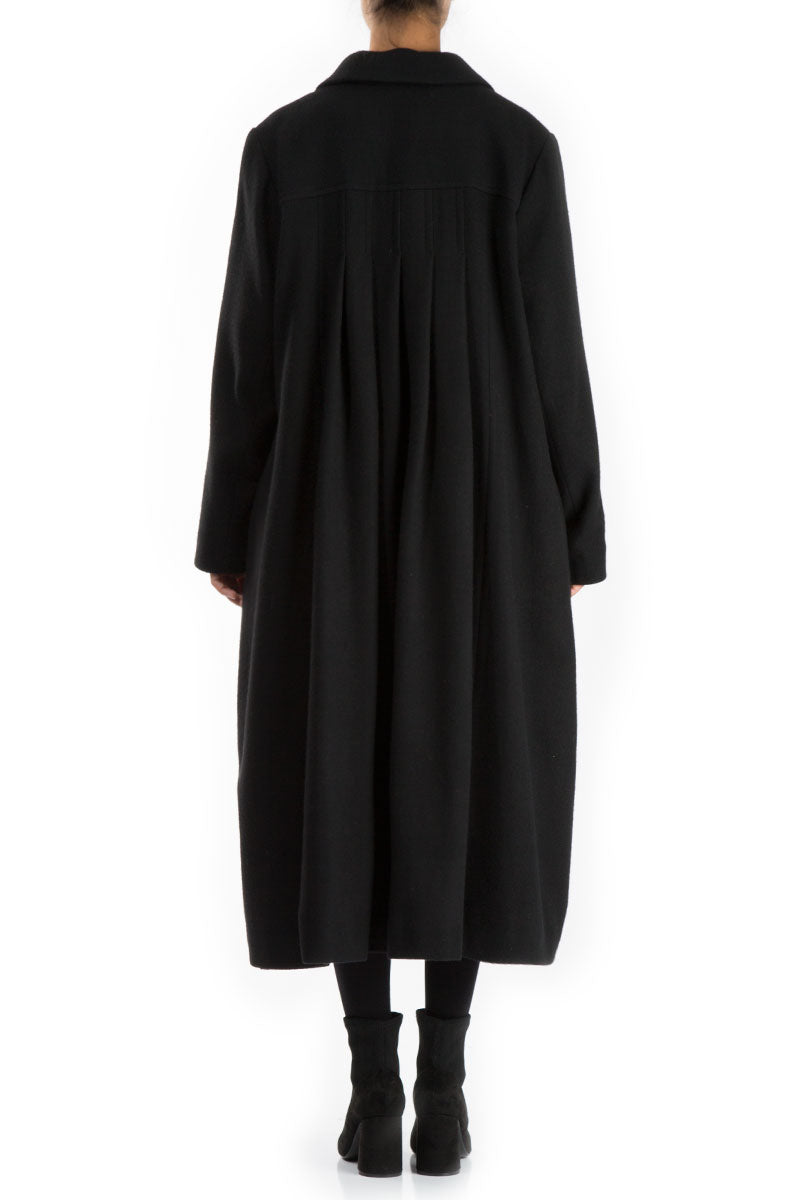 Long Loose Black Wool Coat