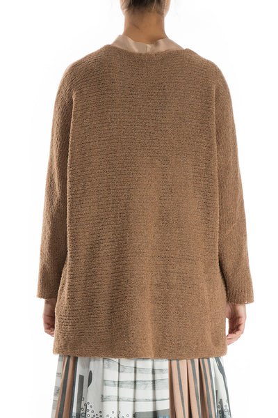 Rip Detail Caramel Wool Sweater