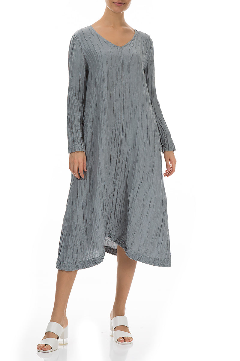 Long Sleeves Crinkled Light Grey Dress