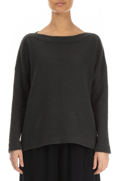 Long Sleeves Dark Grey Wool Sweater