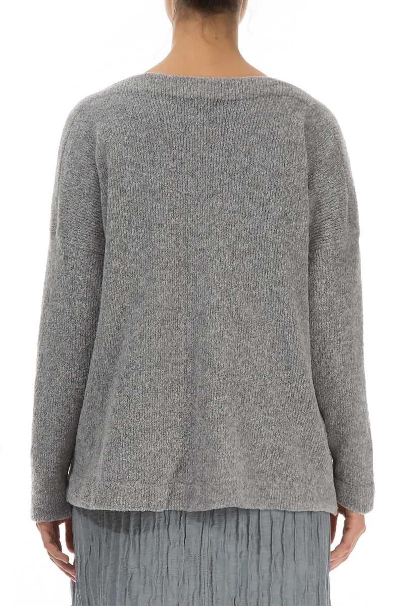 Long Sleeves Grey Wool Sweater