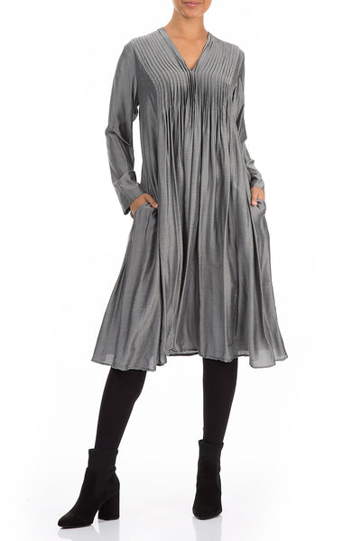 Long Sleeves Romantic Anthracite Silk Bamboo Dress