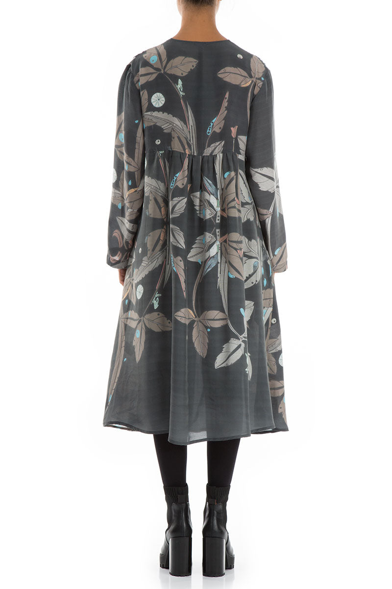Long Sleeves Romantic Leaves Print Dress