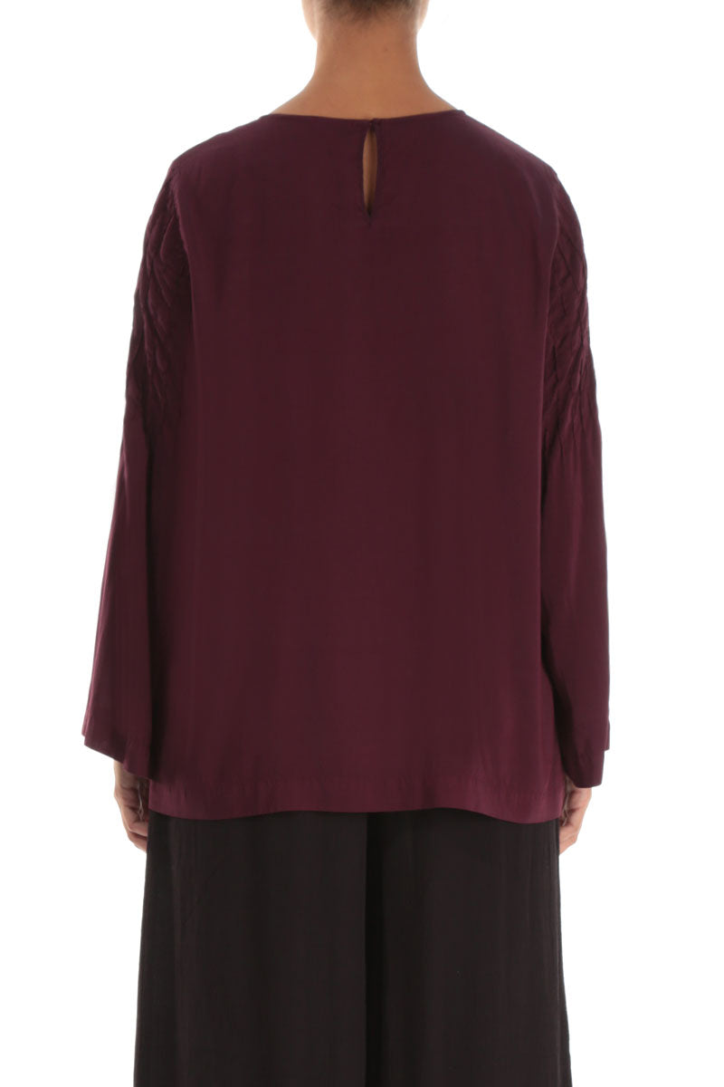 Long Sleeves Silk Bamboo Wine Blouse