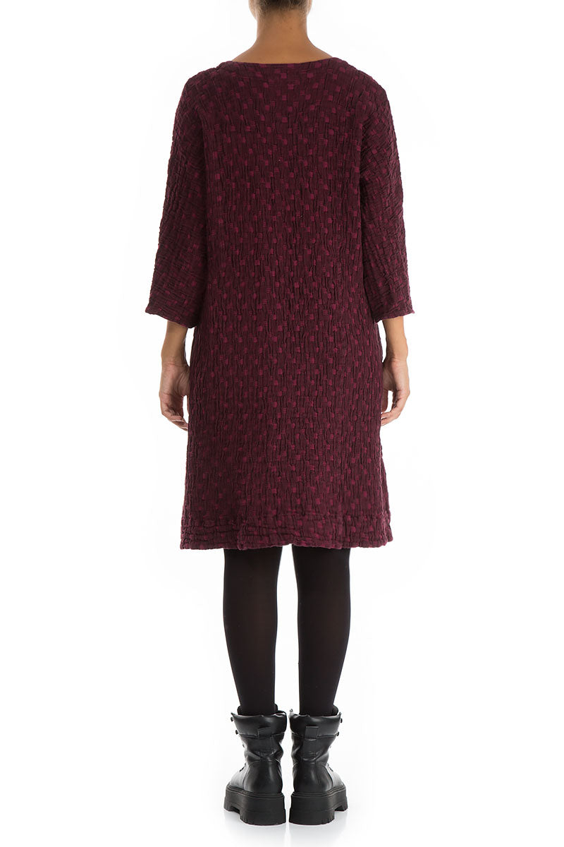 Long Textured Wine Linen Cotton Tunic Dress
