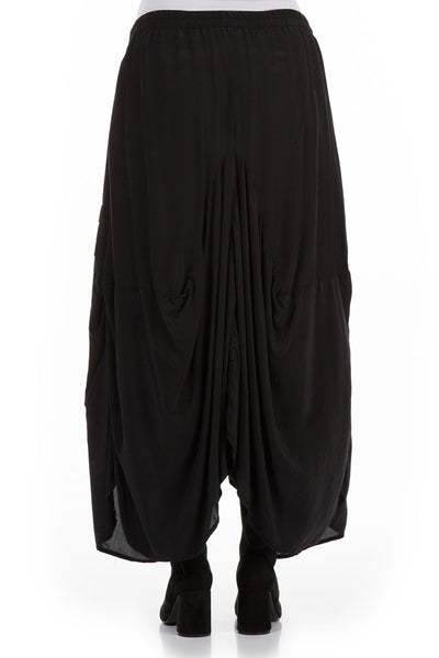 Long Draped Black Silk Bamboo Skirt - GRIZAS | Natural Contemporary Womenswear