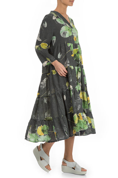 Maxi Flared Waterlilies Print Linen Dress - GRIZAS | Natural Contemporary Womenswear