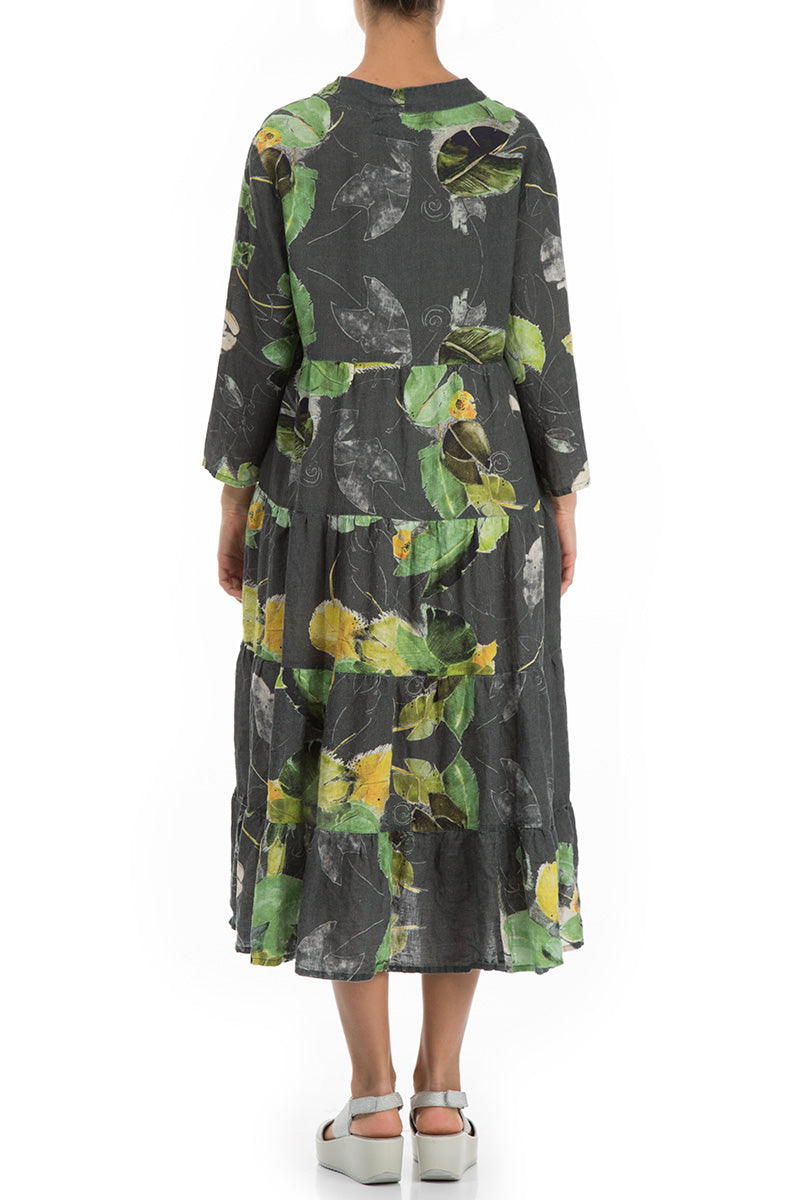 Maxi Flared Waterlilies Print Linen Dress
