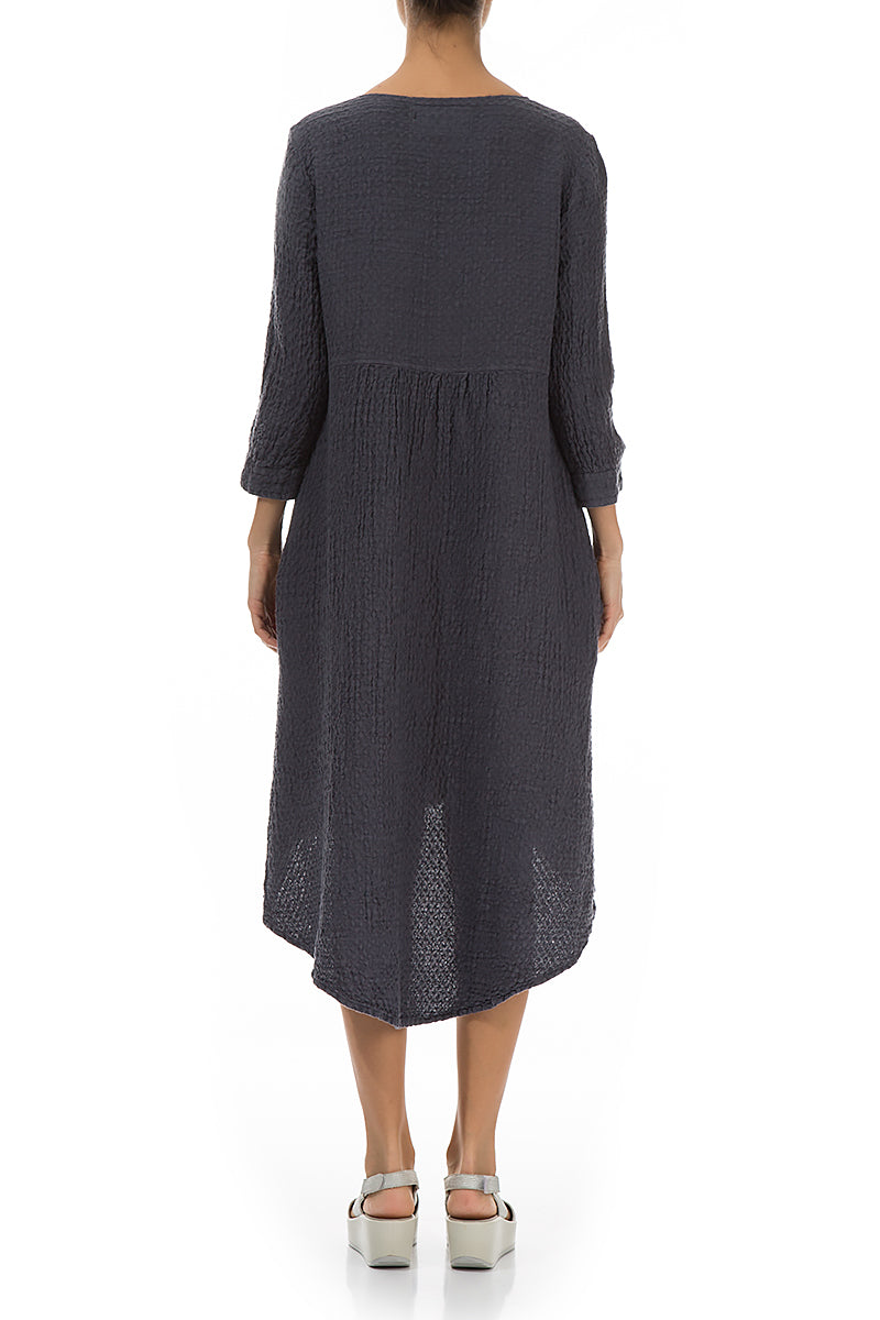 Longer Back Textured Graphite Linen Dress