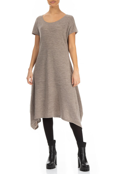 Longer Edge Beige Wool Dress