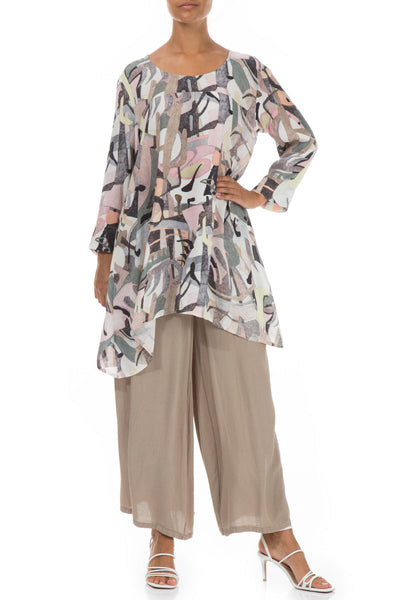 Longer Edge Pastel Art Viscose Tunic