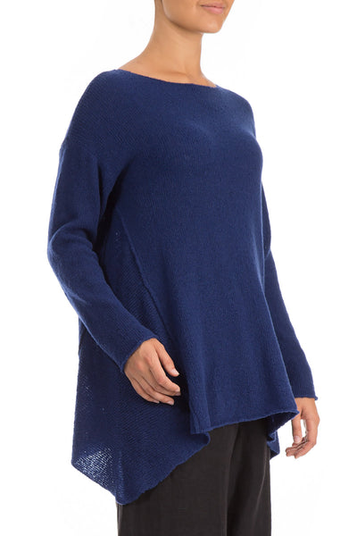 Longer Sides Bright Blue Wool Sweater