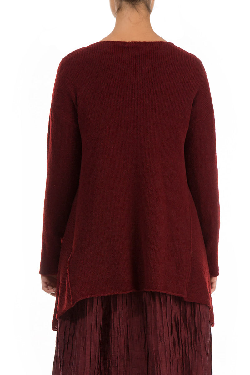 Longer Sides Dark Red Wool Sweater