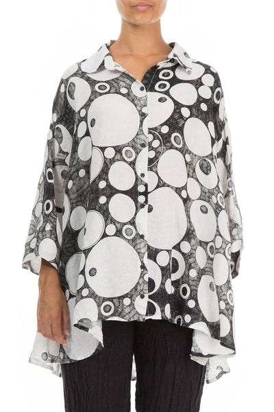 Bubbles Print White & Black Linen Shirt