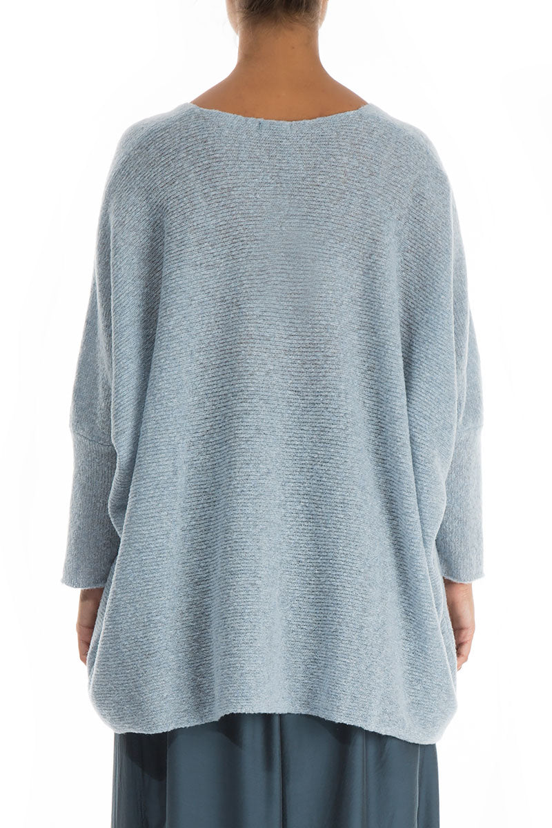Loose Cosy Arctic Blue Wool Sweater