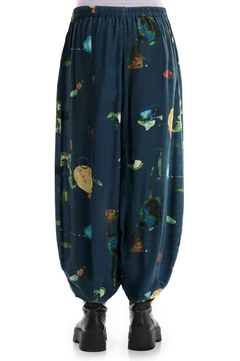 Loose Fairy-Tale Print Silk Bamboo Trousers