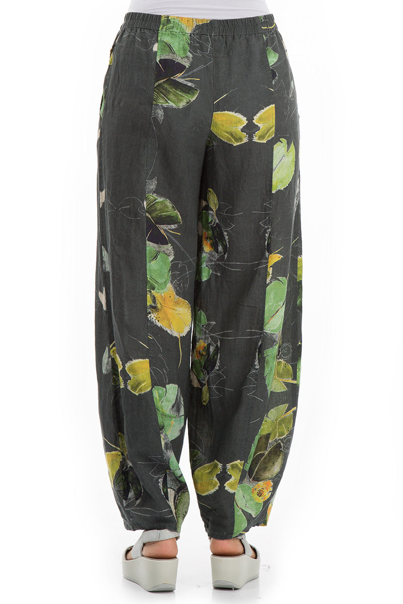 Loose Waterlilies Print Linen Trousers