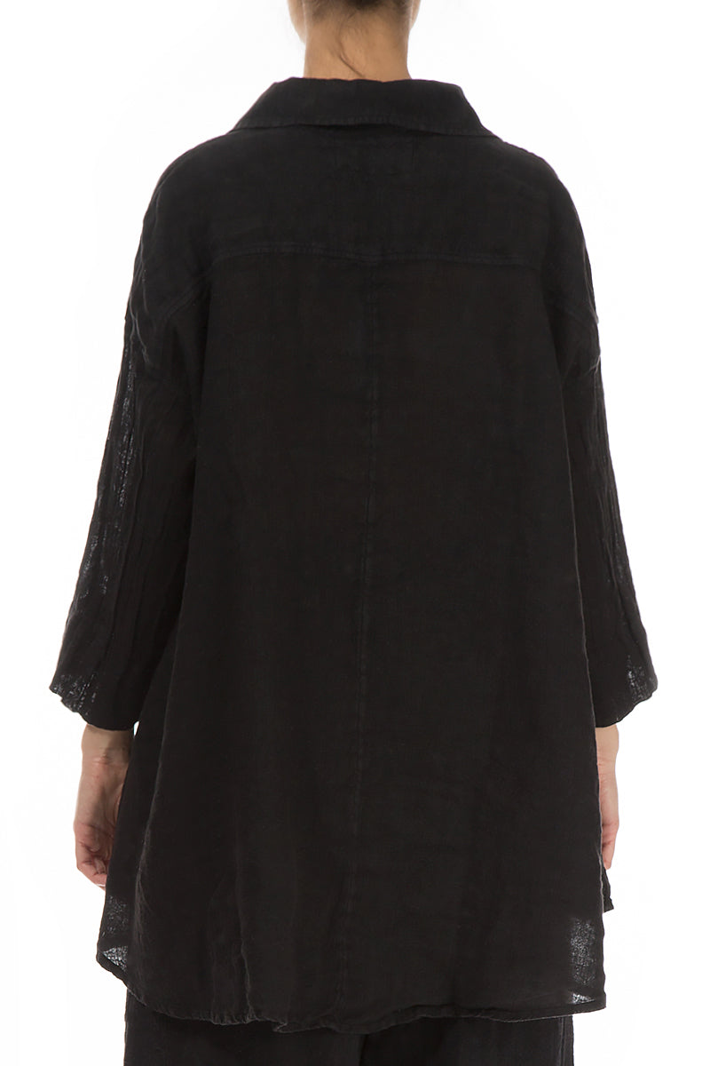 Loose Black Linen Shirt