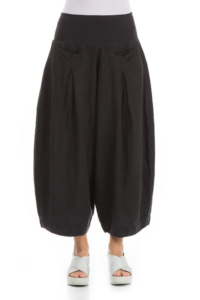 Loose Black Linen Trousers - GRIZAS | Natural Contemporary Womenswear