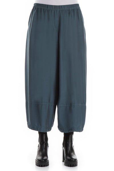 Loose Brass Blue Silk Bamboo Trousers