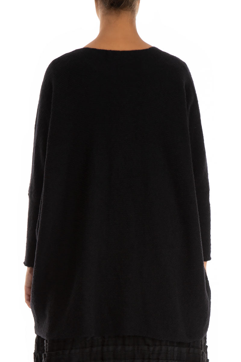 Loose Taper Cosy Black Wool Sweater