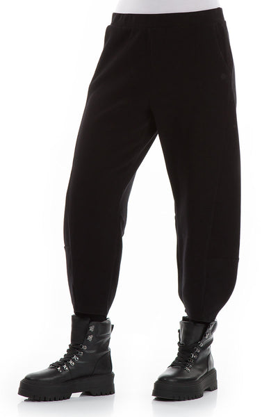 Loose Cropped Black Cotton Trousers