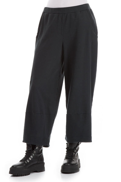 Loose Cropped Dark Grey Cotton Trousers