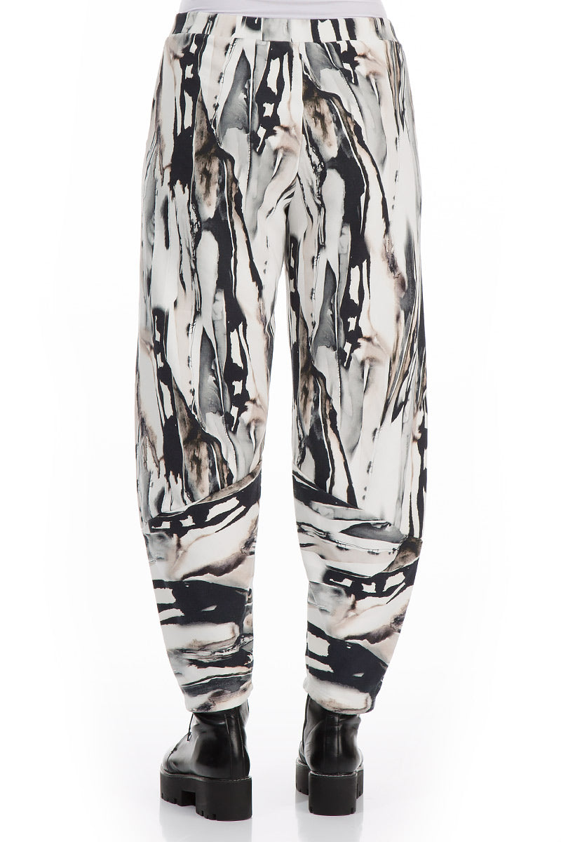 Loose Cropped Rain Print Cotton Trousers