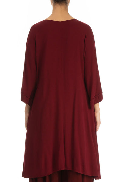 Loose Dark Red Viscose Tunic Dress