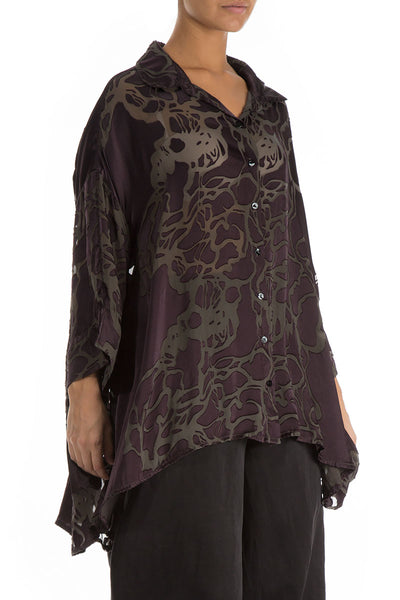 Loose Floral Pattern Ash Silk Shirt