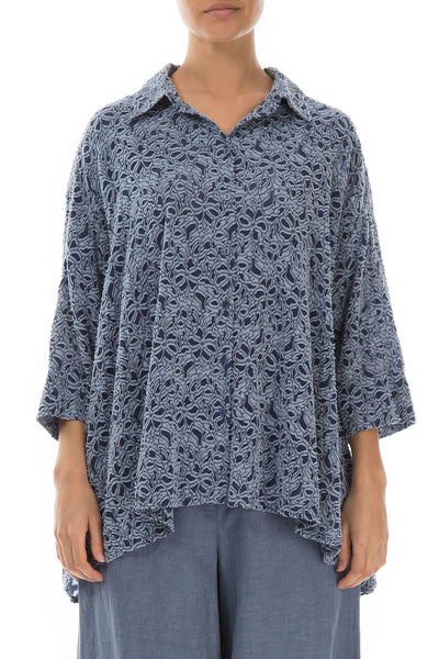 Loose Floral Texture Blue Iris Silk Cotton Shirt