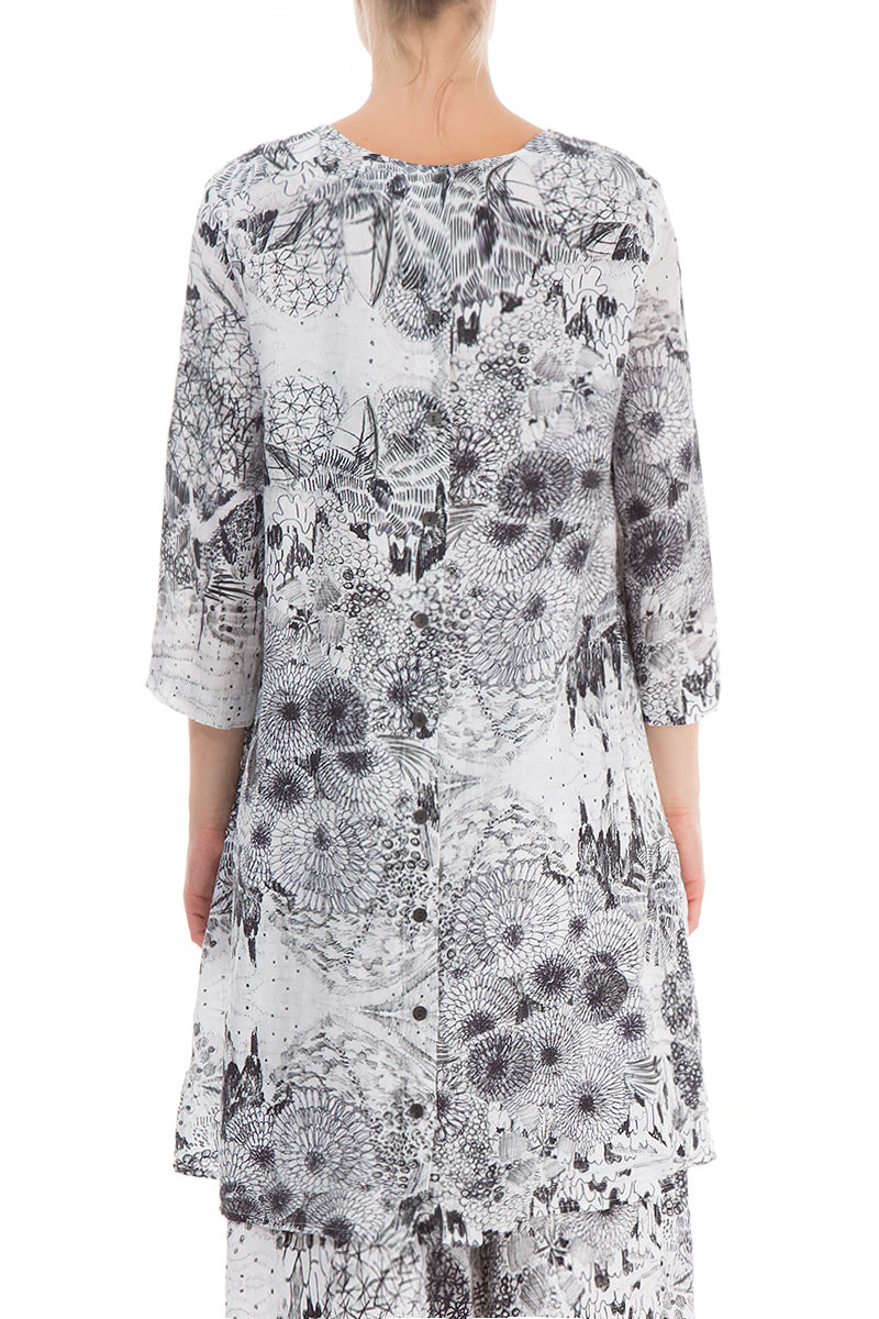 Loose Graphical Flowers Print Linen Tunic - GRIZAS | Natural Contemporary Womenswear
