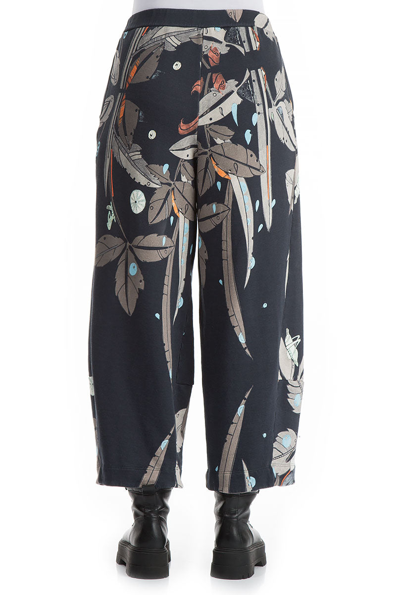 Loose Leaves Print Cotton Trousers