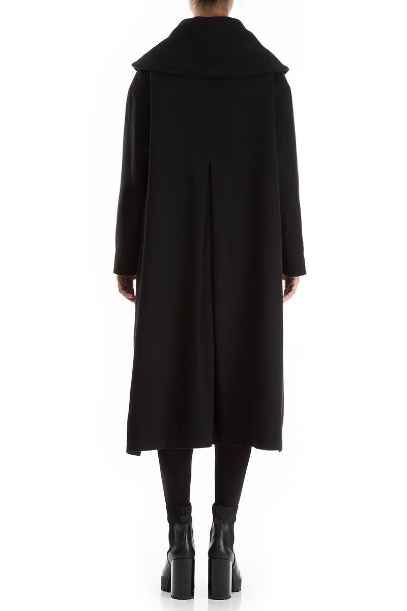 Loose Minimalist Black Wool Coat