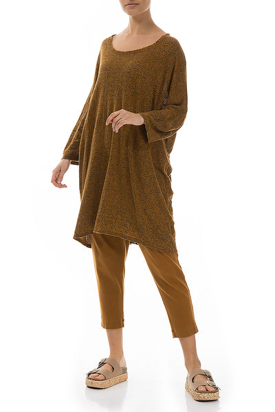 Loose Printed Mustard Linen Jersey Tunic