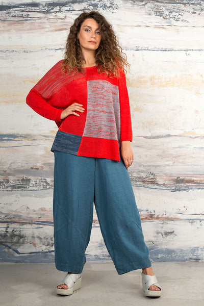 Loose Red & Blue Linen Jumper