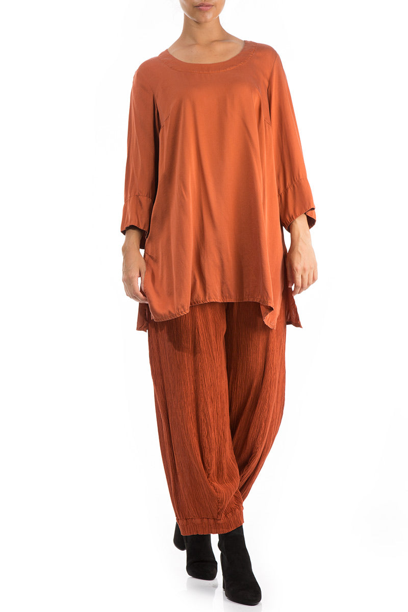 Loose Saffron Silk Tunic