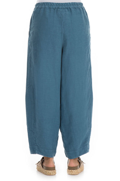 Loose Steel Blue Linen Trousers