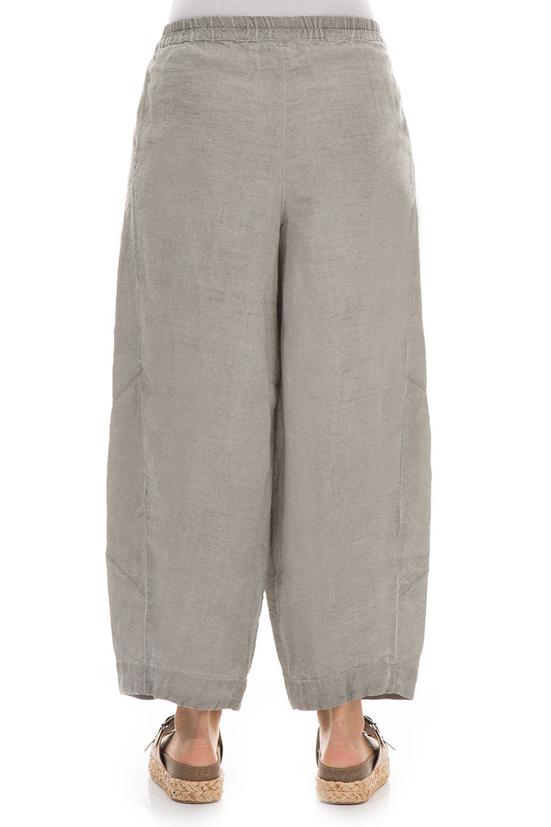 Loose Washed Out Taupe Linen Trousers