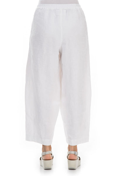 Loose White Linen Trousers