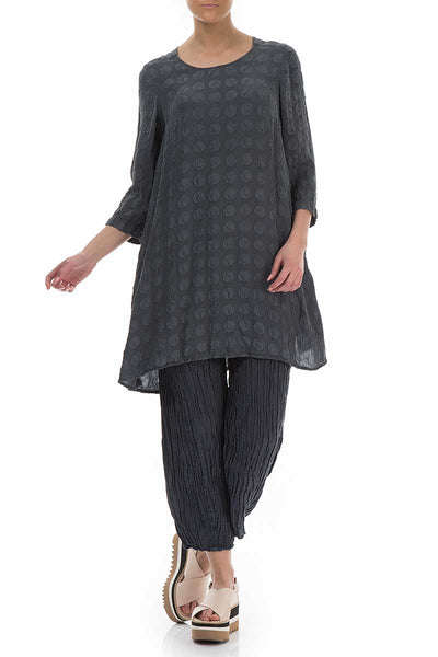 Loose Bubbles Texture Charcoal Tunic - GRIZAS | Natural Contemporary Womenswear