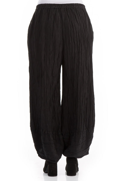Loose Crinkled Black Trousers - GRIZAS | Natural Contemporary Womenswear
